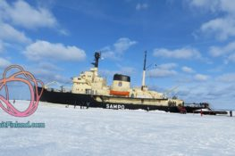 Breaking through the ice in the Arctic on...